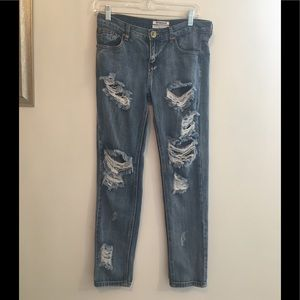 One Teaspoon Awesome Baggies deconstructed jeans
